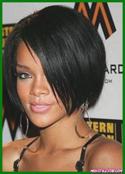 Coiffures courtes arrondies de Bob- Rihanna