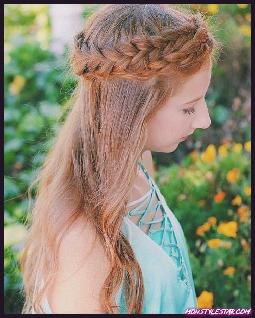 Coiffures Double Tiara Braid pour cheveux longs et naturels