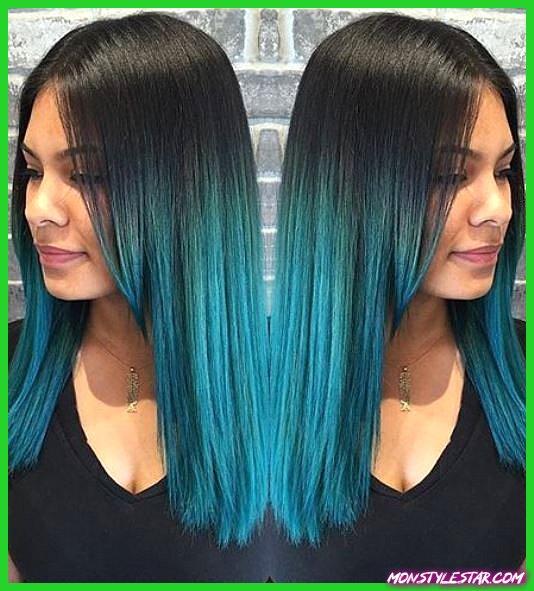 Cheveux Corbeau avec des coiffures Ombre Bleu Turquoise
