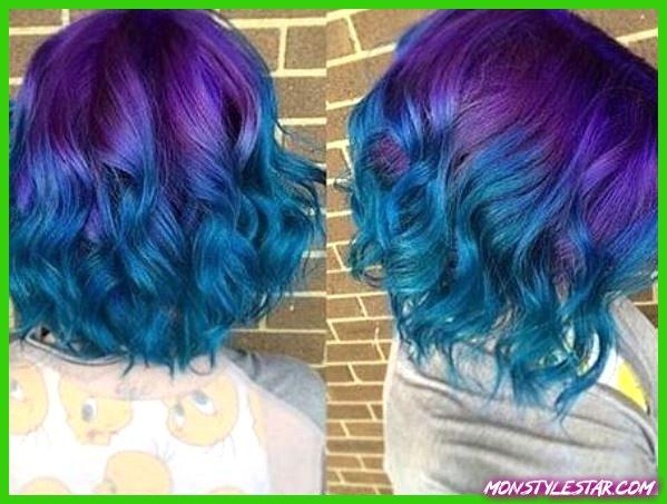 Wavy Ombre Bob dans les tons violet et bleu - Coiffures ombrées bleues