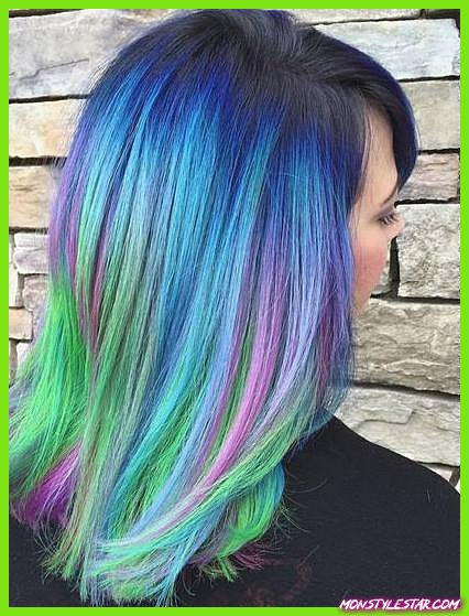 Rainbow Highlights with Blue Roots - Coiffures ombrées bleues