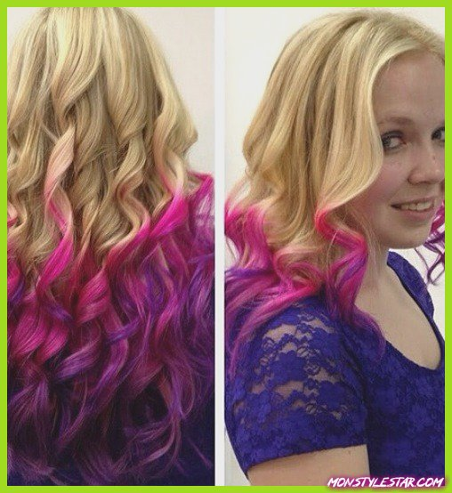 Wavy Blonde to Nice Pink- Pink coiffures ombre