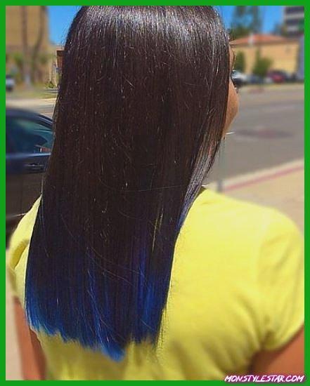 Ombre bleue avec des pointes à peine trempées - Coiffures bleues