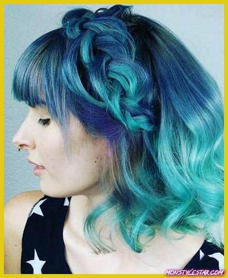 Blue Braid Crown - Coiffures ombrées bleues