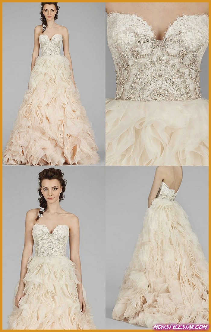 Collection Automne 2014 de Robes de Mariée Lazaro aux motifs élégamment glamour