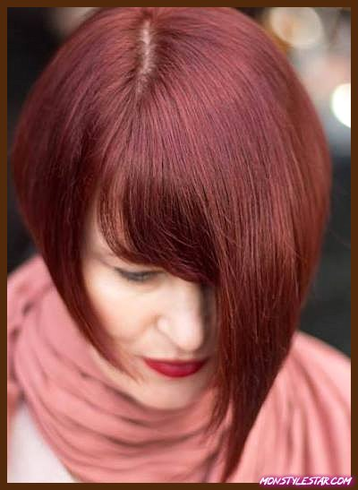 Coupe asymétrique auburn - Nuances de cheveux roux