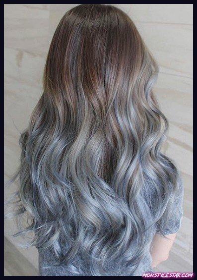 Coupes de pétrole ombre- coiffures ombre bleue