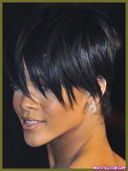 Coupe de cheveux empilés avec des franges allongées - les coiffures courtes de Rihanna