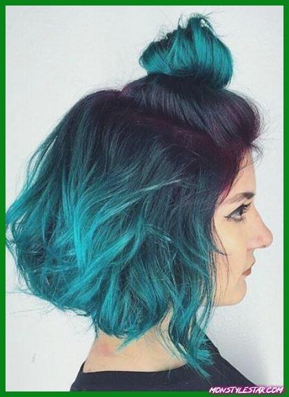 Blue Green Ombre Bob- Coiffures ombrées bleues