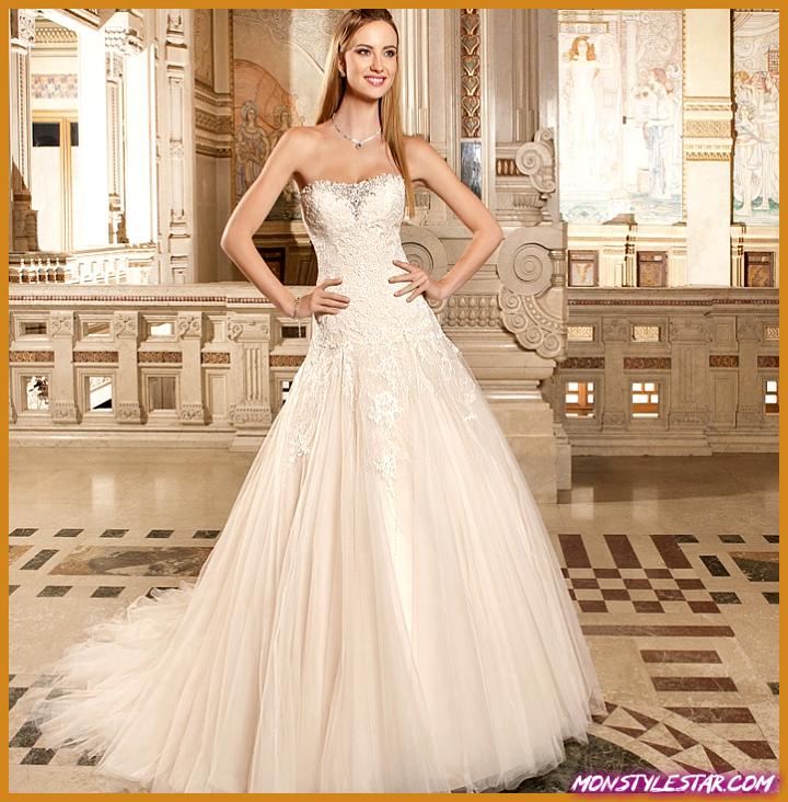 Demetrios Robes de Mariée avec Perles Cristal Complexe
