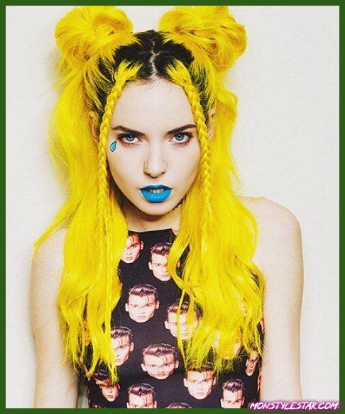 Couleur de cheveux jaune pastel tournesol - Couleurs de cheveux pastel