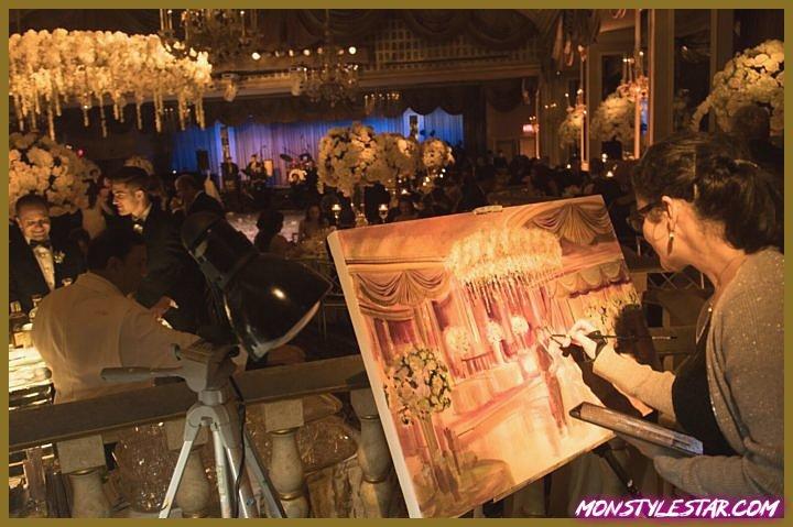Mariage glamour à New York dans la salle de bal à l'hôtel Pierre