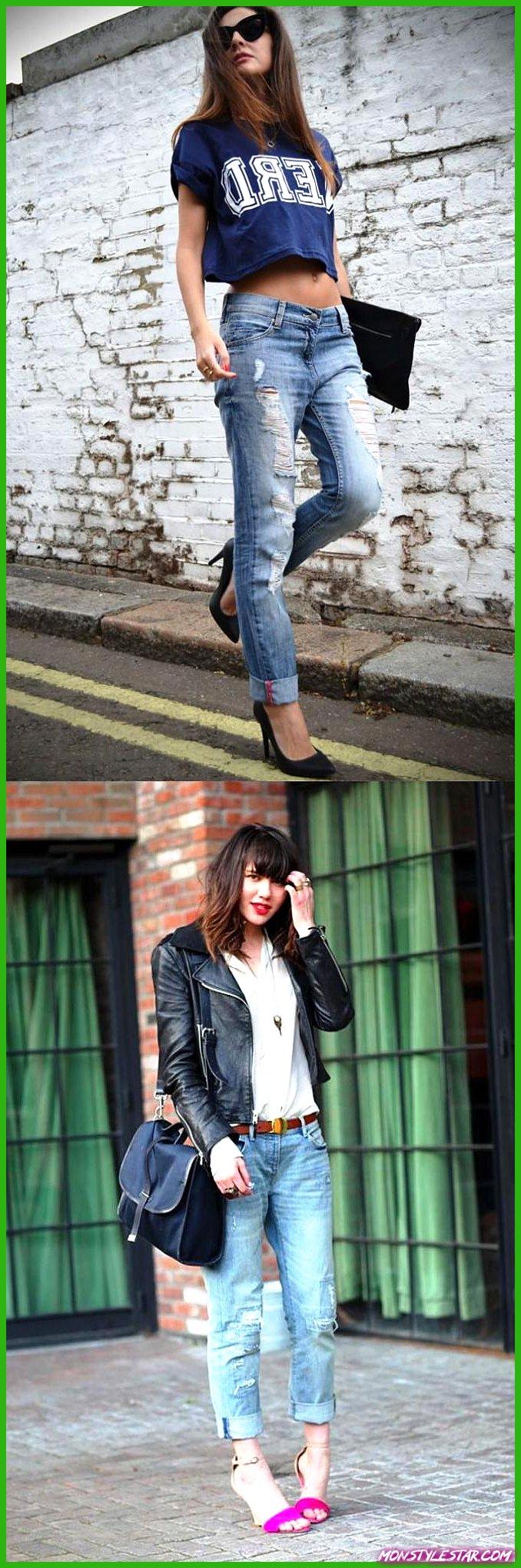 10 combinaisons élégantes de tenue de jean boyfriend et idées pour les femmes