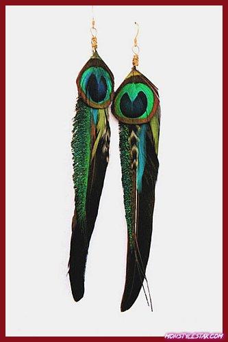 Boucles doreilles à plumes longues les plus chaudes: superbes couleurs